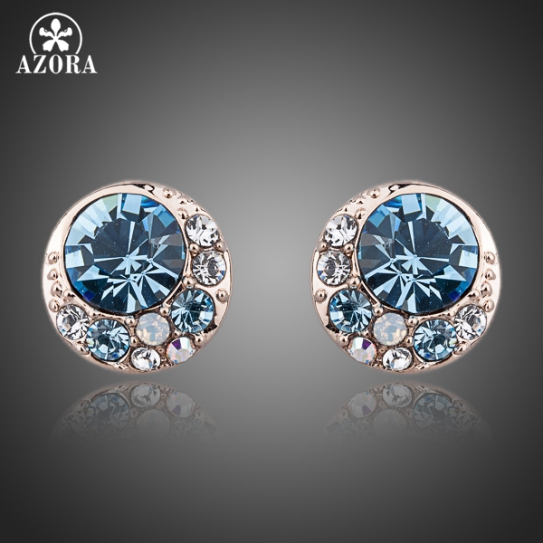 Azora Blue Eyes Rose Gold Colour Stellux Austrian Crystal Round Stud Earrings TE0072