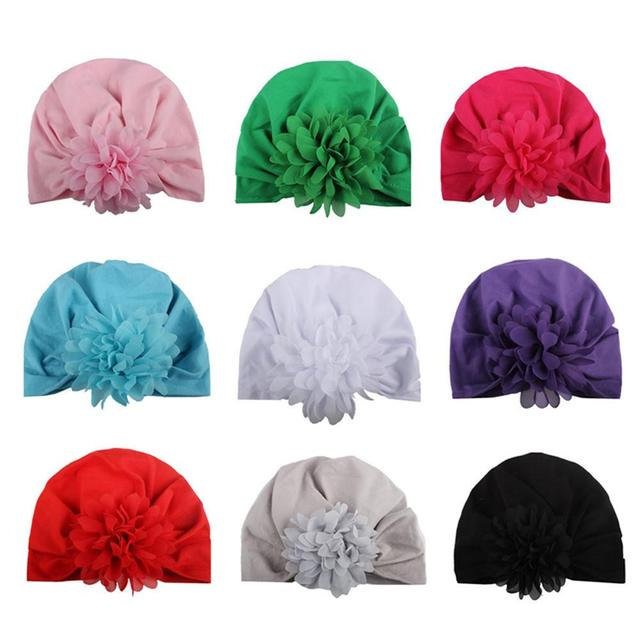 9 Color Baby Unisex Flower Style Blended Cotton Soft Hat Knotted Bohemian  Industry Wind Indian Hat Baby Photography Decoration fd3123d428a