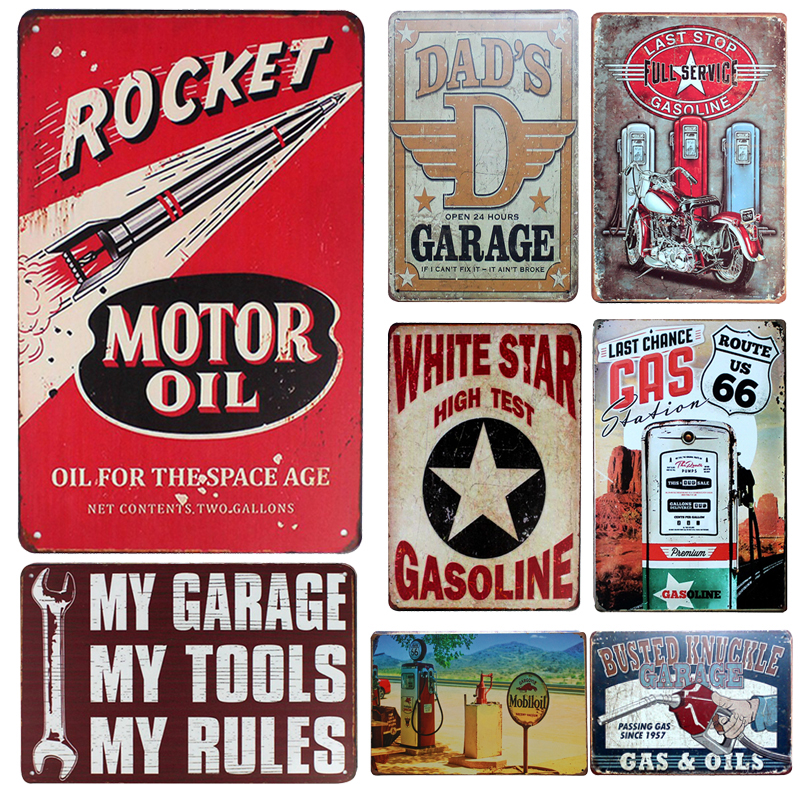 [inFour+]Rockrt Motor Oil Vintage Metal Signs Home Decor Vintage Tin Signs Pub Vintage Decorative Plates Metal Wall Art Plaques