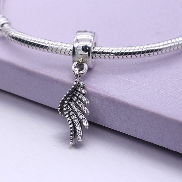 Authentic 925 Sterling-Silver-Jewelry DIY Beads for Jewelry Making Majestic Feather Hanging Charm Fits Pandora Charms Bracelet