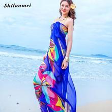 Модный шифоновый солнцезащитный дышащий шарф, шаль, голубой, для отдыха, отдыха, пляжа, свободное женское шифоновое полотенце