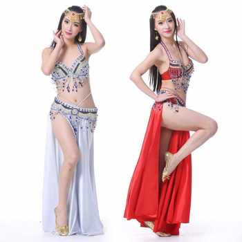 Oriental Style Rhinestone Bra+Belt+Skirt Belly Dance 3pcs Costume Set Stage Performance Luxury Belly Dancing Egyptian Costumes - DISCOUNT ITEM  30% OFF All Category