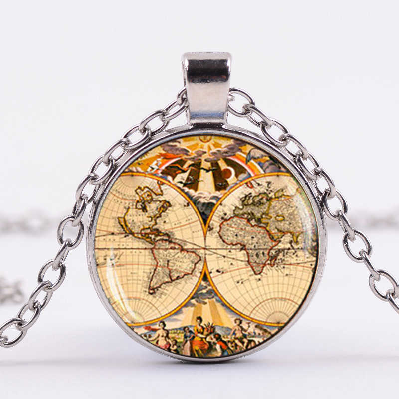 シャンレトロ地球世界地図ネックレスグローブ惑星 Wanderlust アート写真ガラスドームペンダントネックレスアースデイの最高友人
