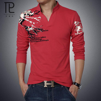Tailor Pal Love Fashion Print Slim Fit Long Sleeve T Shirt Men Tee V Neck Casual