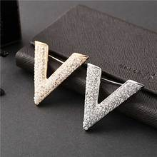New letter type Woman Brooch Full Rhinestone shine gold silver luxury wedding brooches