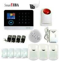 SmartYIBA Wireless WiFI Home Alarm System Android IOS APP GSM GPRS Alarm System Outdoor IP Camera Gas Fire Smoke Detector Sensor