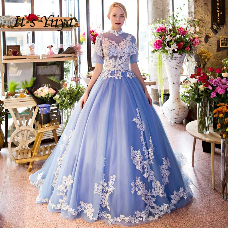 It's Yiiya High Collar Blue Ball Gown Backless Lace Up Flowers Elegant   Evening     Dress   Floor Length Party Gown   Evening   Gowns LX056