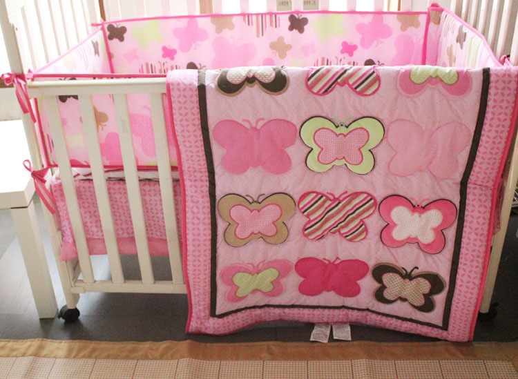 Promotion! 4pcs Embroidery Pink Baby Bedding Set Sweet Baby Nursery Bedding ,include (bumpers+duvet+bed cover+bed skirt)