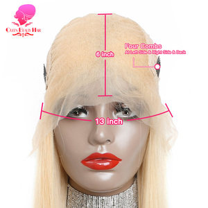 Image 5 - QUEEN BEAUTY Brazilian Lace Front Wig 613 Blonde Long Straight Remy Human Lace Wigs with Baby Hair 150% Density 8   26 inch