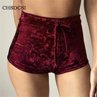 Women Velvet Shorts Fashion Winter Spring Sexy High Waist Flannel Short Pants Feminino Pantalones Fitness Soft