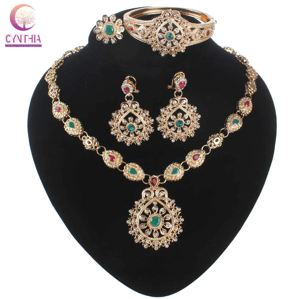 Multicolor Crystal Gold-color Jewelry Necklace Earrings Accessories Fashion Women European African Jewelry Sets