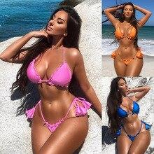 Купить с кэшбэком 2019 new Bikini Women sexy swimsuit set pendant with pink 2pcs summer beach ladies Swimwear low waist push up Brazil Bikinis XL