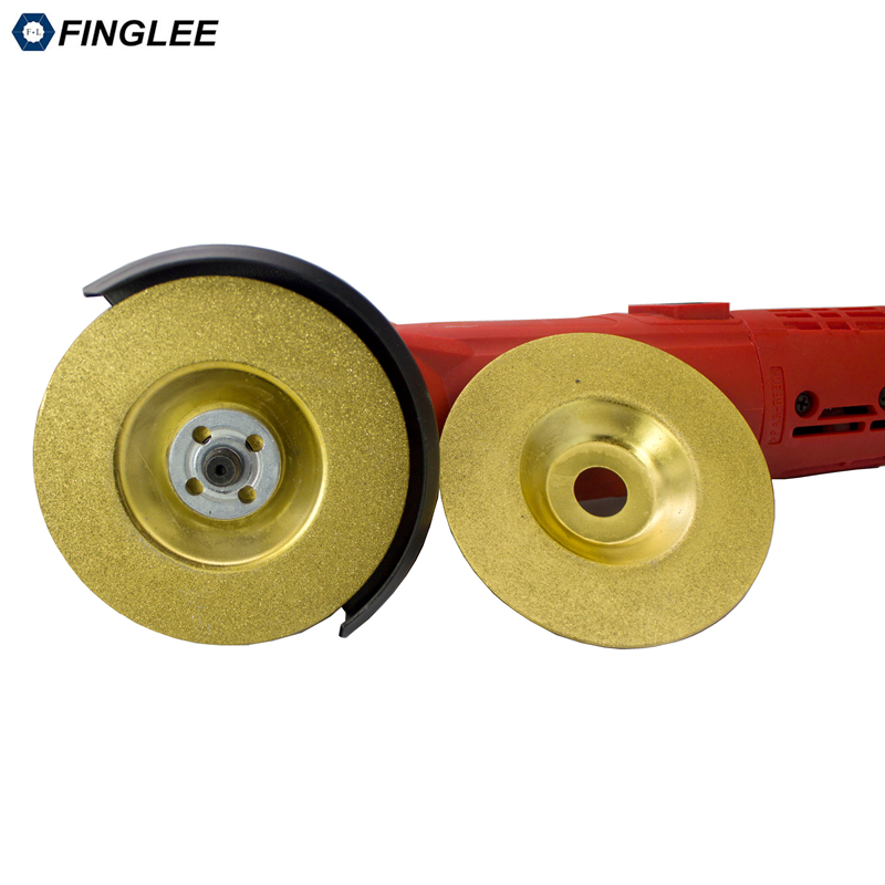 FINGLEE 4 inch Titanium Plating Electroplated Diamond Saw Blade Bowl Cutting Wheel Grinding Disc For Angle Grinder 100mm brazing cutting piece diamond grinding bowl marble grinding wheel angle grinder saw blade ceramic stone grinding