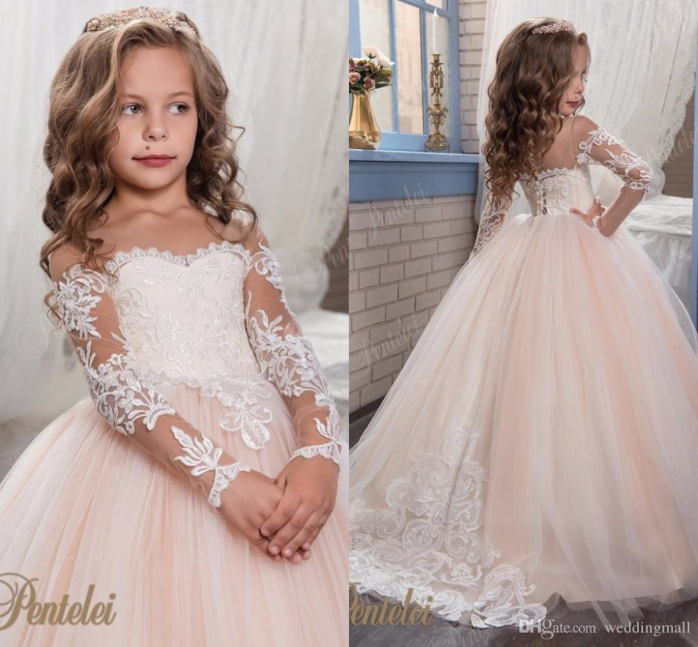 Royal Flower Girl Dress for Wedding 2018 Satin Gold Lace Appliques Beaded Ball Gown Girl Party Communion Dress Pageant Gowns