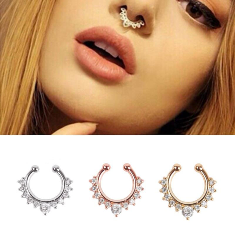 1pc Crystal False Nose Hoop Rings Stud Fake Septum Non Piercing