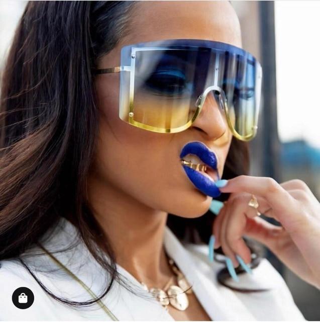 De moda de gran tamaño azul gradiente amarillo gafas de sol de las mujeres 2019 Luxulry diseñador de la marca rojo sin montura de Metal mujeres gafas de sol tonos