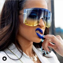 Fashion Oversized Blue Yellow Gradient Sunglasses Women 2019
