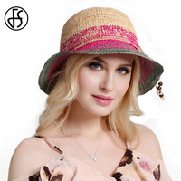 FS נשים כובעי שמש כובע קיץ קש רפיה אופנה עלה חום Wide ברים התקליטונים חוף עם סרט פרפר חיצוני נסיעות Visor שווי