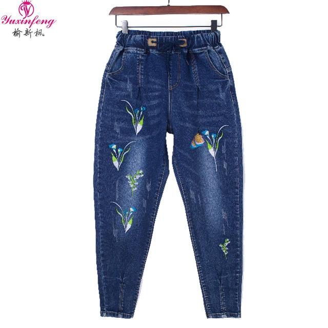 2fb047c17c1 Autumn Winter Ripped Jeans for women Plus Size Ladies Cowboy Elastic Waist  Embroidered Boyfriends Jeans Female