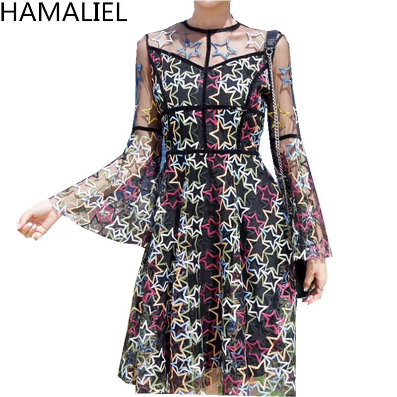 HAMALIEL Noble Spring Women Party Dress 2018 Luxury Black Mesh Embroidery Hollow Out Lady Long Flare Sleeve Slim Ball Gown Dress