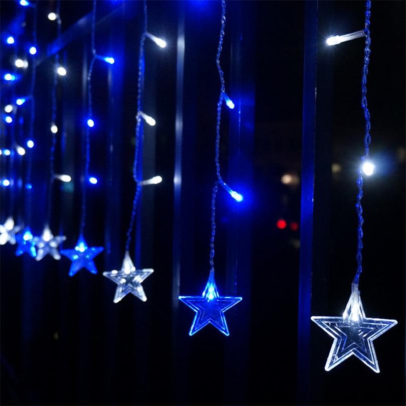 Trecaan 5M / 3.5M Cinci-pointed Star cortina Lumini de cort Fairy - Luminări festive