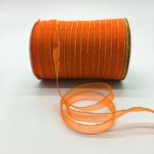 Glitter Ribbon-Bow Crafts Lace Orange Golden-Rimmed Hair Wedding-Decoration Organza 10mm