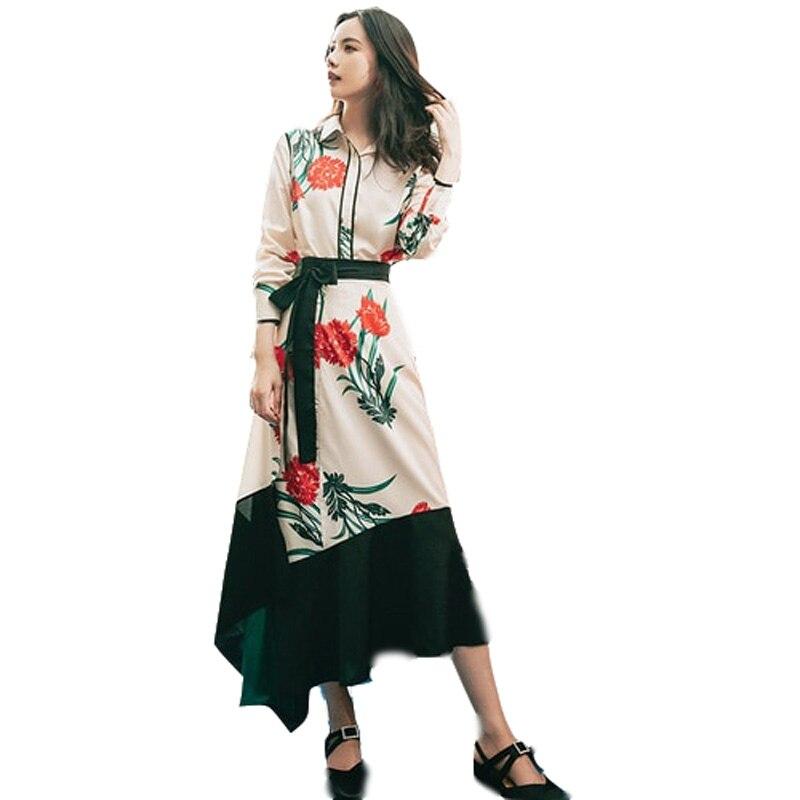 YOSIMI 2019 2 pièces ensembles costume été imprimer femmes chemise à manches longues + asymétrie jupe deux pièces costume mi-mollet femmes robe printemps