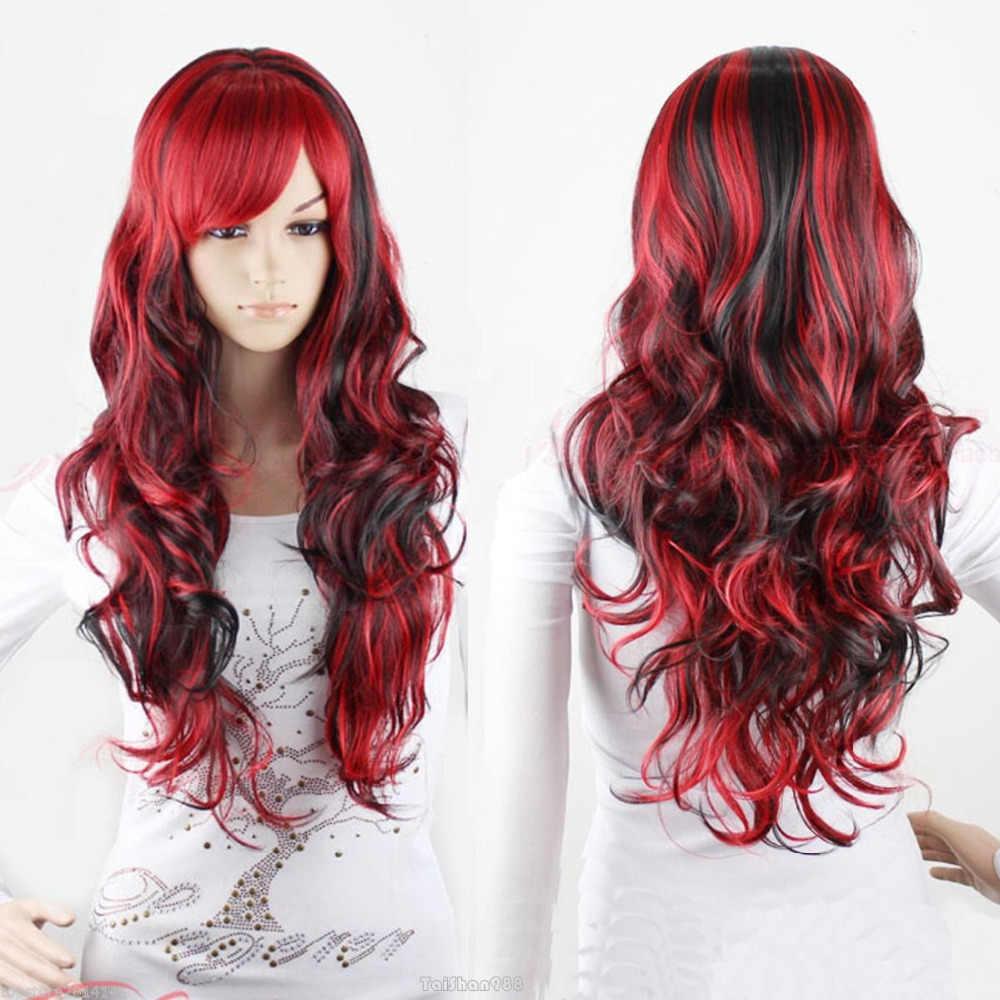 Горячая продажа модные длинные черные микс красные волнистые вьющиеся женские парик для косплея AAAAAA бесплатная доставка