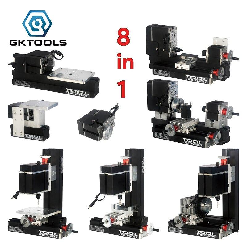 Металлический мини-комплект токарного станка TZ8000M 8 в 1, DIY BigPower, мотор 60 Вт 12000 об/мин, Унифицированное обучение детей, лучший подарок