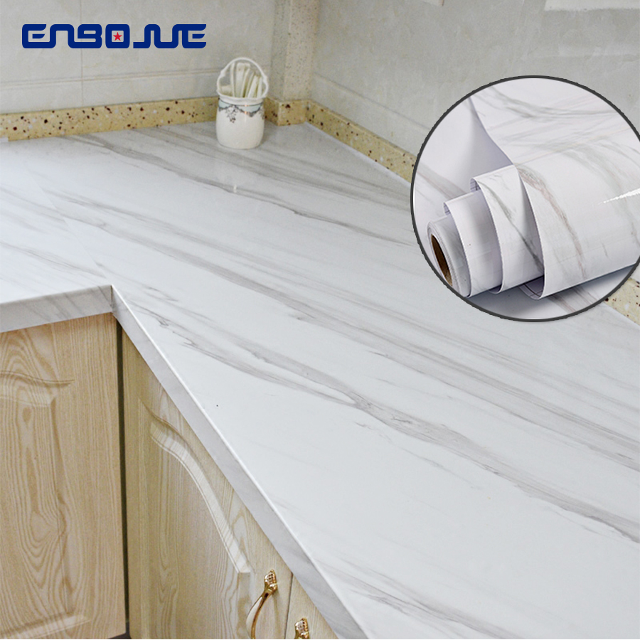 Marble Self Adhesive Wallpaper Furniture Cupboard Stove Table Contact Paper Vinyl Waterproof Wall Stickers For Bathroom Kitchen