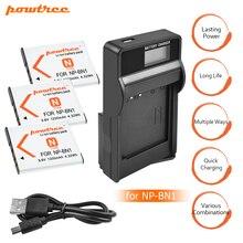 3x bateria NP-BN1 np bn1 NPBN1 battery + LCD USB charger for sony DSC WX220 WX150 DSC-W380 W390 DSC-W320 W630 camera L20