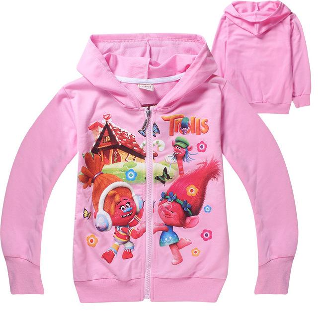 4-12 Anos 2017 Primavera Grils Trolls Hoodies Das Camisolas Crianças Topwear Jaqueta de Algodão Zipper Cardigan Outerwear Crianças Roupas