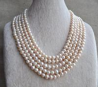 Perfect Long Pearl Jewellery White Real Pearl Necklace,100 inches 6.5 8mm Freshwater Pearl Necklace,Bridesmaid Gift For Lady's