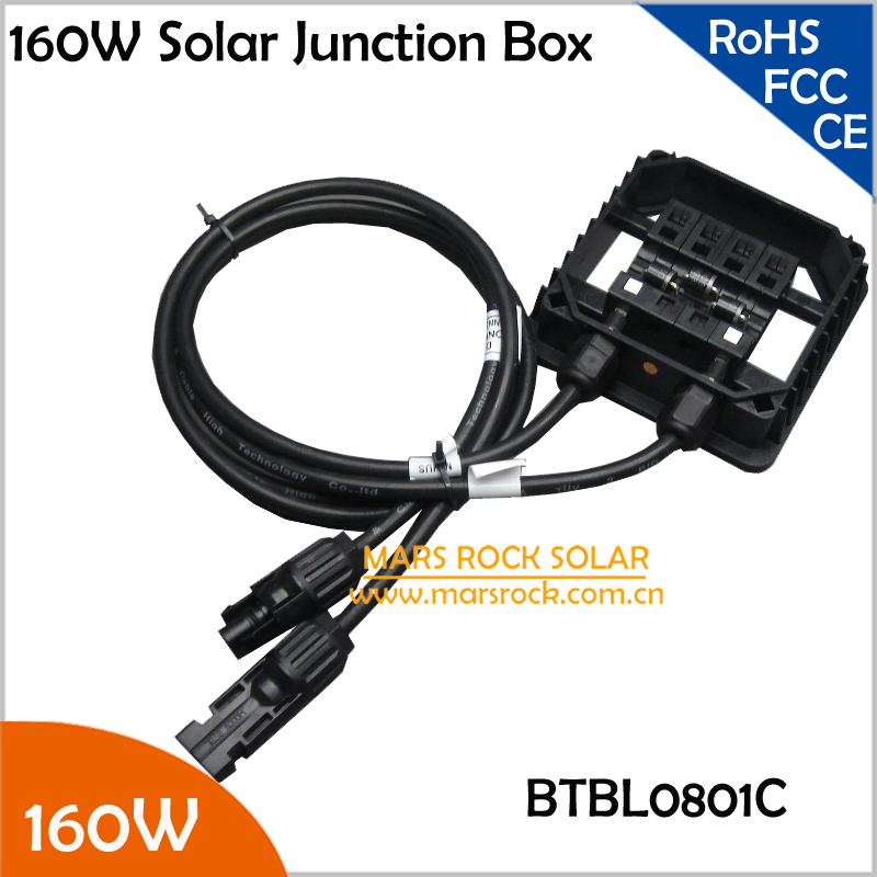 5pcs/Lot 10A 160W Solar Junction Box, IP65 Waterproof, with 3 Diodes(10A10), MC4 Connector, 90CM Cable, PV Terminal Box 160W 140w 200w solar junction box waterproof ip65 for solar panel connect pv junction box solar cable connection with diode