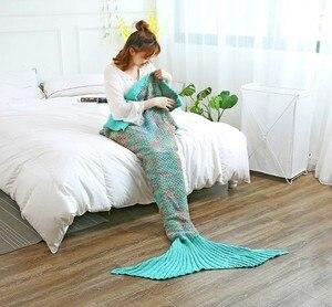 Image 3 - CAMMITEVER Mermaid Tail Blanket Yarn Knitted Handmade Crochet Mermaid Blanket Kids Throw Bed Wrap All Seasons Sleeping Knitted