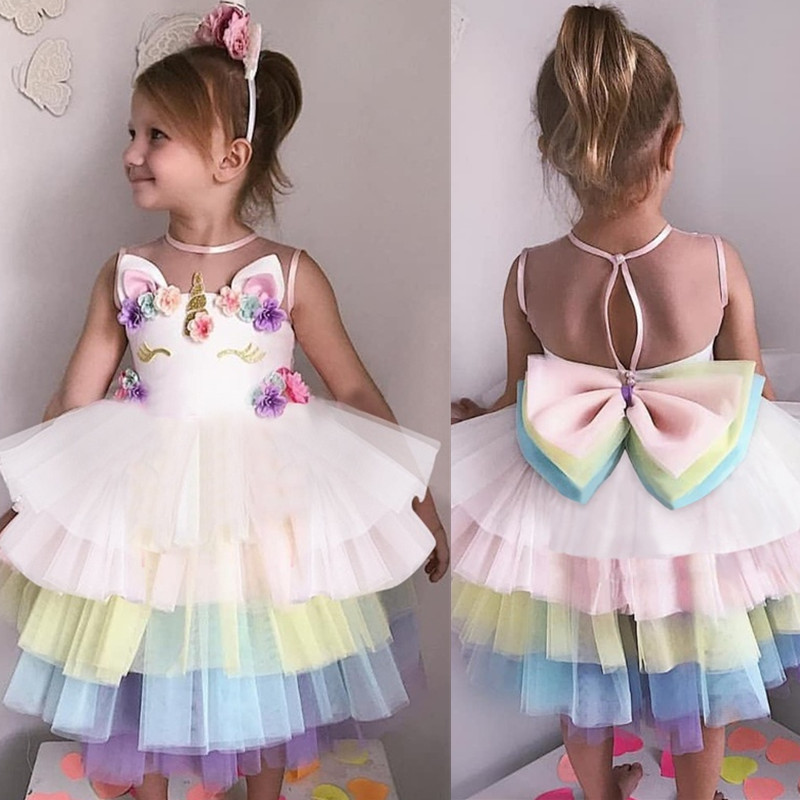 Summer Girls Unicorn Dress Baby Summer Fancy Princess Costume For Kids Girl Birthday Party Dresses Teens Children Tutu Gown 8 10