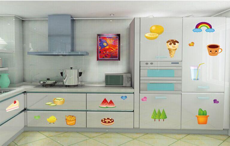 Cartoon Obst Kuchen Eis DIY Entfernbare Wandaufkleber Kche Schrank Wohnzimmer Khlschrank Wandbild Aufkleber AY633