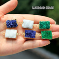 Wholesale Natural Druse 3 Color Stone Pendant Rectangle Gold Plated Irregular Geode Women DIY Necklaces  For Jewelry Making