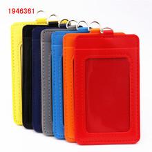 Luksusowa jakość 610 PU materiał skórzany dwie karty rękaw etui na identyfikator wyczyść Bank pokrowiec na karty kredytowe akcesoria tanie tanio you ping 7 3*11 cm 1pcs Badge