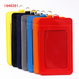 Luxury quality 610 PU Leather material double card sleeve ID Badge Case Clear Bank Credit Card Badge Holder Accessories