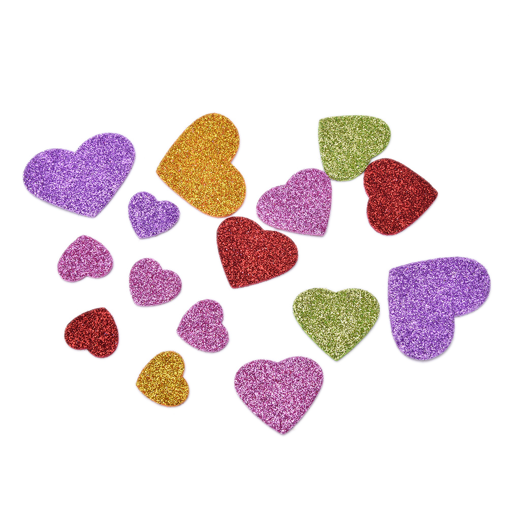 45Pcs/Pack DIY Mixed Size Glitter Foam Heart Stickers,Kids toy.Scrapbooking kit.Early Educational.Cheap.kindergarten Craft New