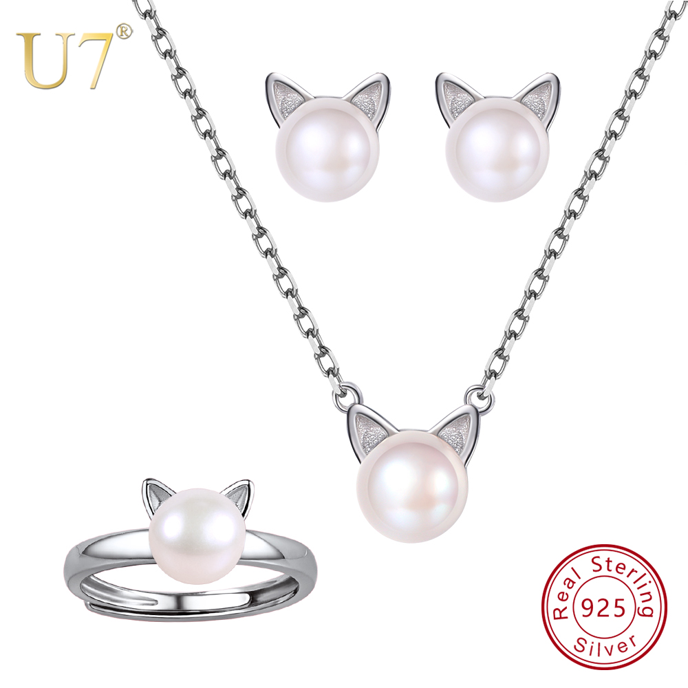 U7 925 Sterling Silver Freshwater Pearl Cute Cat Earrings Ring Necklace Set For Mother's Day Bestfriend Gifts Women Jewelry SC96 u7 925 sterling silver love heart necklace and stud earrings set with gem mother s day gifts for girlfriend women jewelry sc91