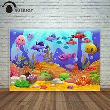Allenjoy oceano mundo dos desenhos animados subaquático colorido peixe tesouro crianças fotografia fundo foto photocall câmera pano de fundo