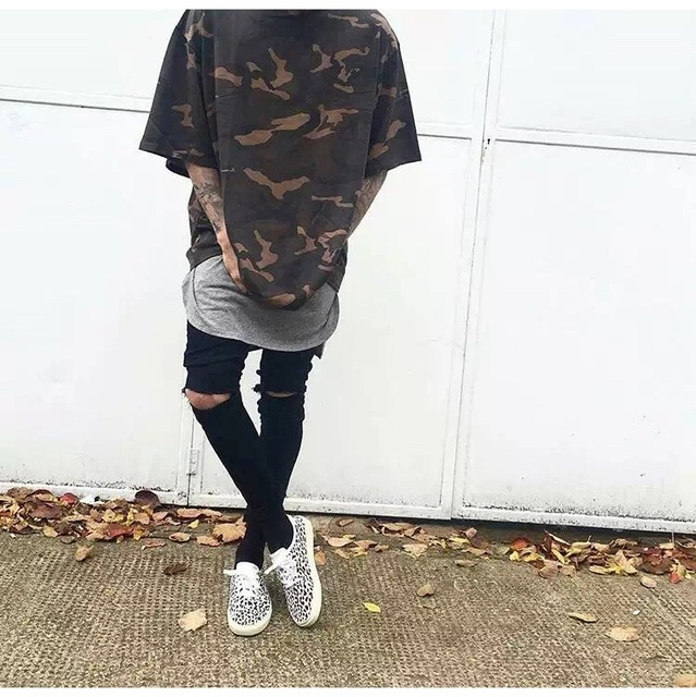 9c85c744 Kanye West Same Design Over Size Hip Hop Camouflage Tshirt Baggy Loose  Street Wear Tees Three Quarter Sleeve Plus Size S To XXXL
