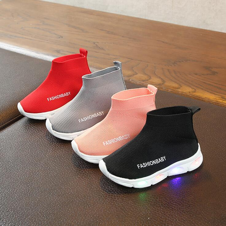 Kids Shoes Elastic Sports Led Shoes Leisure Baby Boys Girls Light Shoes Children Kids Breathable Sport Shoes Glowing Sneakers