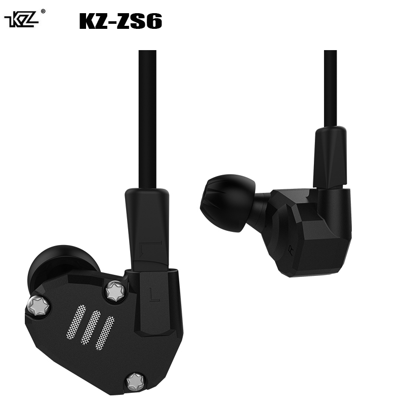 Original KZ ZS6 Earphones 2DD+2BA Hybrid HIFI DJ Stereo Super Bass Metal Earbuds 3.5mm stereo Noise Isolating earbuds for phone велосипед cube stereo hybrid 140 sl 27 5 2014