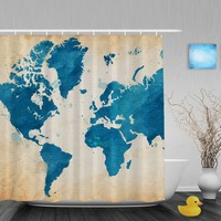 Vintage Watercolor Word Map Shower Cutains Home Decor Collction Bathroom Shower Curtains Polyester Waterproof Fabric With Hooks
