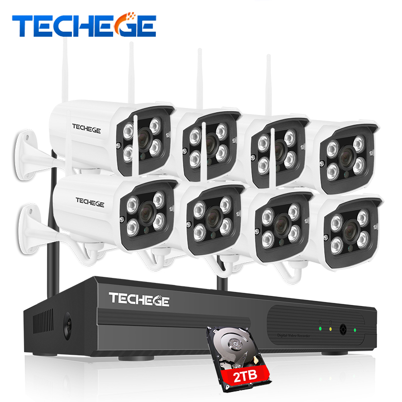 Techege 8CH 1080P NVR WIFI Surveillance Kit Plug and Play 720P HD 1.0MP Wireless Waterproof Night Vision Security CCTV System plug and play 8ch h 264 nvr wireless