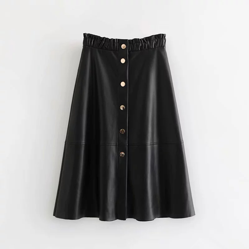 2019 Autumn Faux Leather Skirt Black High Waist Sexy PU Skirt Women Elegant Button-fly Long Skirts Office Lady jupe femme