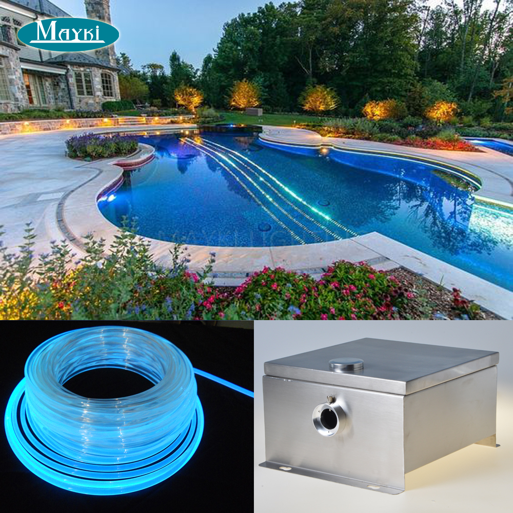 Maykit Ip43 80w Dmx Waterproof Led Light Source Cree Chip With Color Wheel And 30m Optic Fiber For Led Pool Edge Light Decor maykit swimming pool using fiber optic light with 80w led ip43 end emitted fibre optic tail for 20 sqm